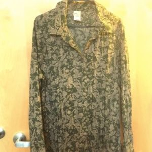 Just My Size Floral Popover Blouse Olive Green 16W
